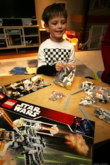 getting his new lego star wars kit ready for the mor…