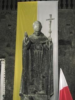 폴란드 소금광산 Powiat wielicki 근처 의 이미지. sol statue john paul mine salt poland polska krakow ii cracow wieliczka shaft kopalnia