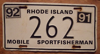 RHODE ISLAND 1991-92 MOBILE SPORTFISHERMAN plate