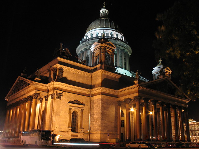 Isaaki Cathedral in night. Russia, Saint-Petersburg