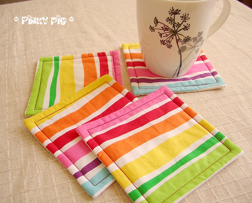 Homemade fabric coasters the happy housewife home for Homemade coaster ideas