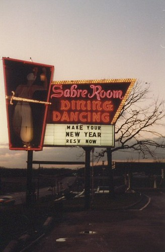 The Sabre Room banquette hall sign on West 95th Street. Hickory Hills Illinois. December 1982. by Eddie from Chicago