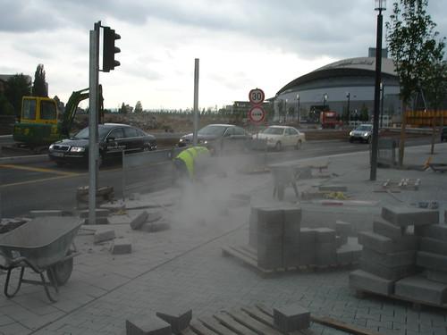 Straßenbau im Europaviertel. Juni 2006
