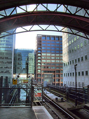 View from Canary Wharf DLR Station, London.
