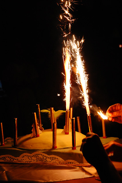 Birthday Cake With Sparkling Candles