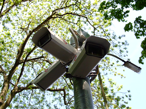 A number of Police CCTV cameras on a post