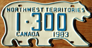 NORTHWEST TERRITORIES 1983 license plate issued to TAXI