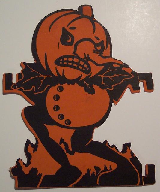 Vintage Halloween Cut Out, Scared Pumpkin Man