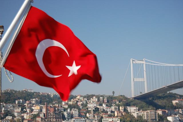 Bosphorus Bridge and Turkish Flag
