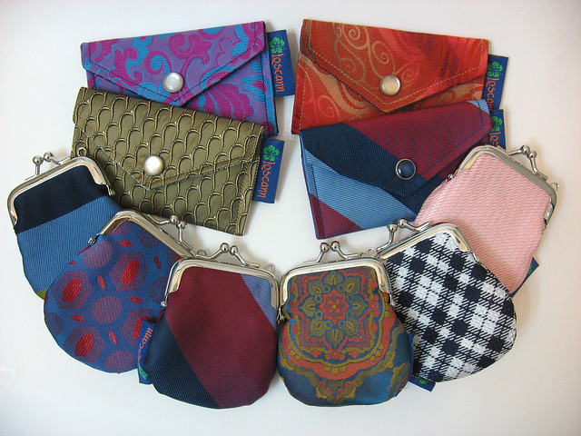 Upcycled necktie cardholders and change pods