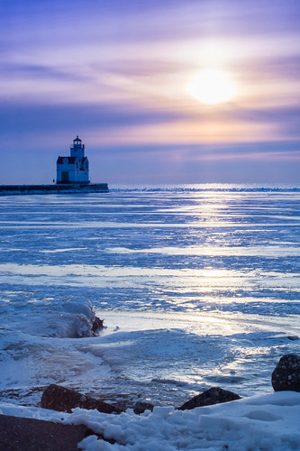 Winter, Cold, Ice, Frozen, Lake Michigan, Sunrise, Lighthouse
