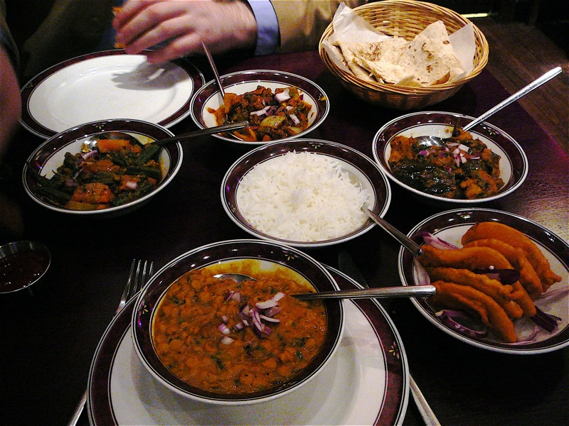 celebration meal at Mother India Cafe, delish