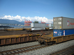 freight containers on rail and hoists