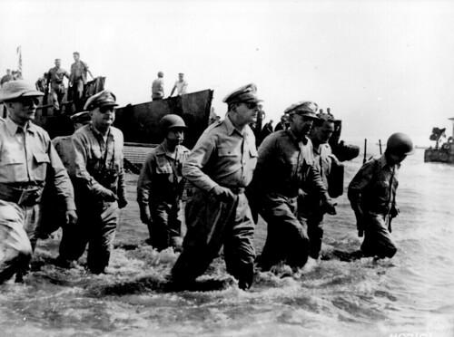 General Douglas MacArthur wades ashore