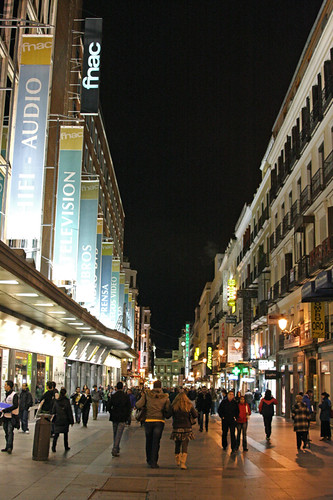 downtown madrid on a tuesday night
