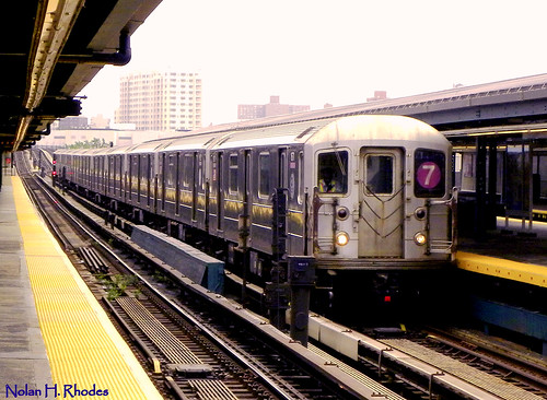 #7 Train Pulling Into Willets Point Station, Flushing, NY