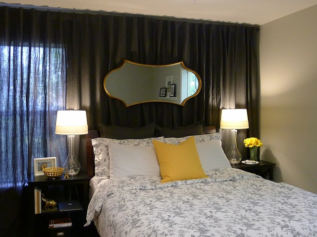 Wall Of Curtains Behind Bed : Art inspired bedroom update welcome to heardmont