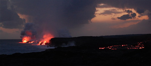 Lava rolling to the sea