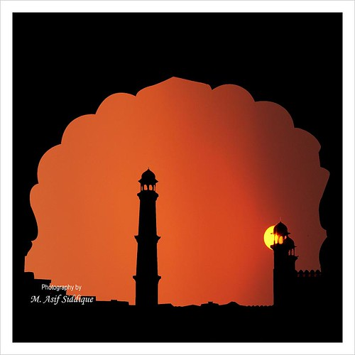 city pakistan sunset red sky orange sun silhouette yellow minaret mosque punjab lahore archs masjid ppo badshahi masif canonpowershots5is pakistaniphotographersorganization
