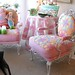 Quilt upholstered metal chairs pink