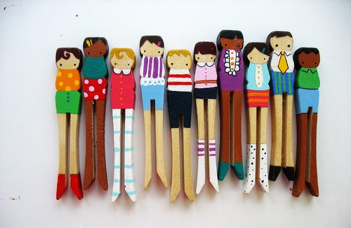 wooden folk art clothespin dolls