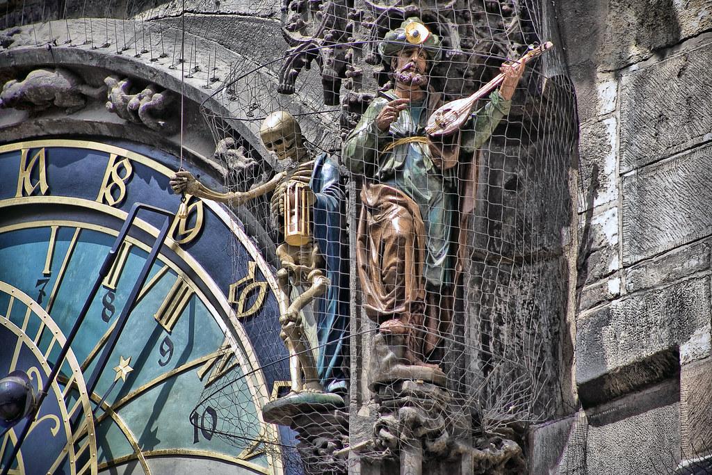 prague astronomical clock in detail