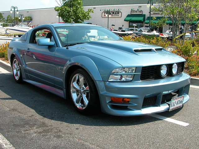 Customized Mustang GT in ice blue