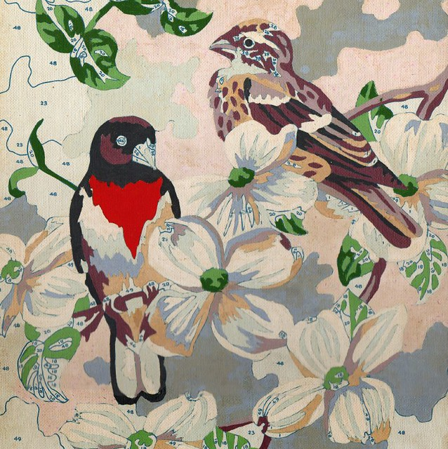 Paint-by-numbers - robins on dogwood
