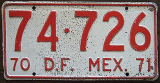 MEXICO, Districto Federal 1970-71 taxi plate