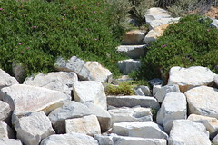 stream(0.0), stone wall(0.0), wall(0.0), flagstone(0.0), stream bed(0.0), walkway(0.0), boulder(1.0), garden(1.0), bedrock(1.0), landscaping(1.0), landscape(1.0), rock(1.0),