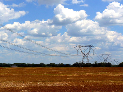 blue ohio sky tower field lines electric clouds power farm pylon route 23