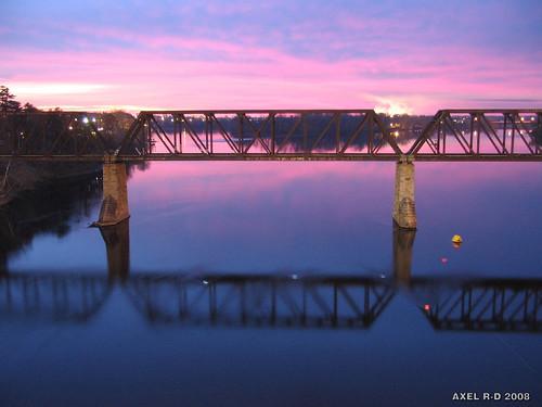 bridge canada sunrise dawn twilight railway québec pont leverdesoleil troisrivières ferroviaire