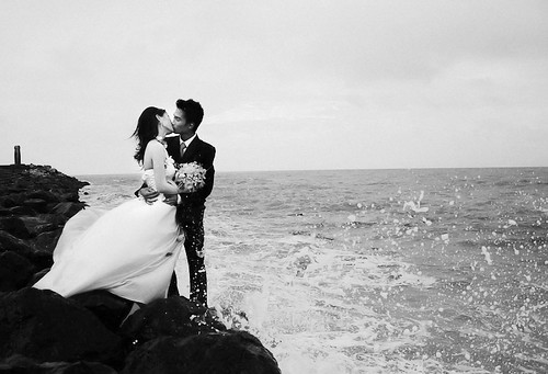 Kissing by the sea