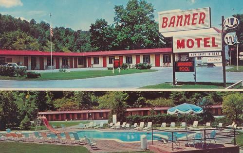 newyork umbrella vintage 1971 postcard banner motel americanflag slide ala binghamton signview tvsign