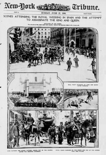 Scenes attending the royal wedding in Spain and the attempt to assassinate the King and Queen (LOC)