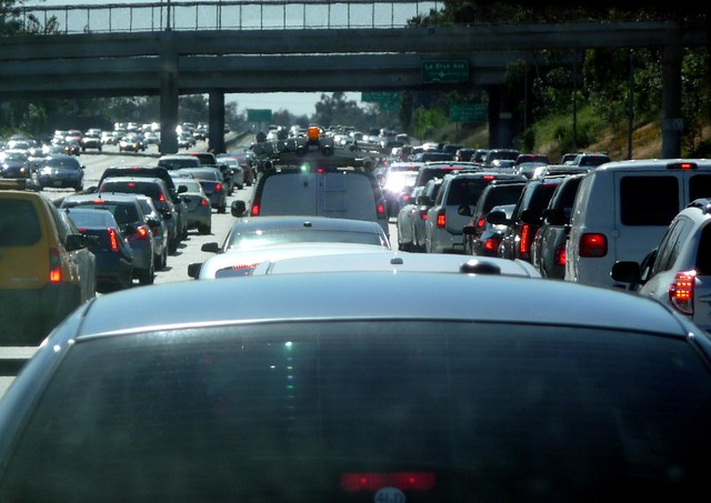 Bumper to bumper traffic towards LAX, Los Angeles County, Southern California, United States of America