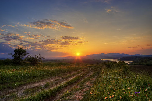 road travel flowers sunset mountains nature clouds rural landscape spring warm dam bulgaria sunrays kardzhali didenze