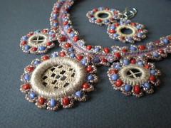 Omega Centauri Freeform Crochet Necklace Earrings
