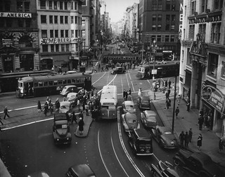 San Francisco, CA Market Street and Third Street Intersection in 1945