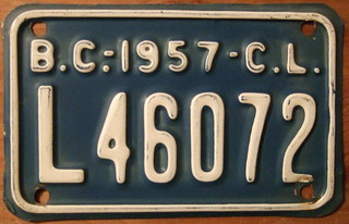 BRITISH COLUMBIA 1957 CARRIER LICENSE plate