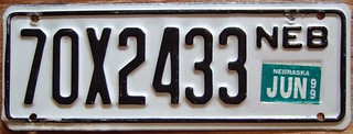 NEBRASKA 1999 ---TRAILER LICENSE PLATE
