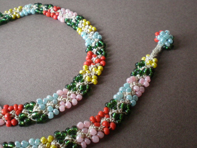 How To Crochet Bead Rope Necklace - YouTube