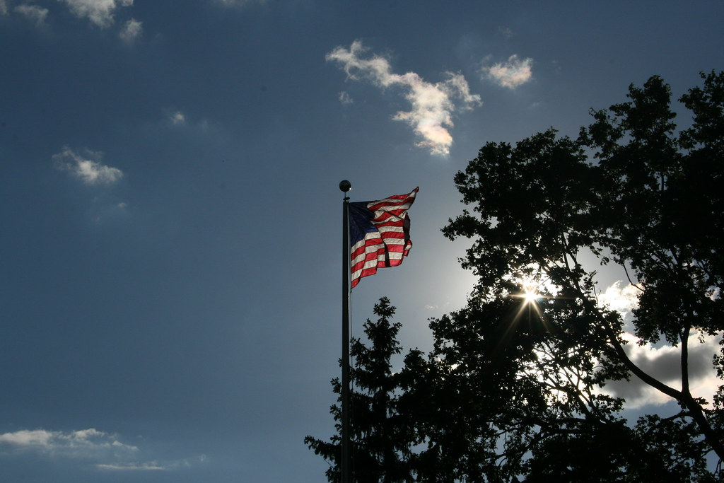 American flag over library square by Davef3183, on flickr