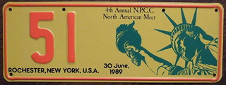 N.P.C.C. 1989 4TH ANNUAL NORTH AMERICAN MEET souvenir license plate.