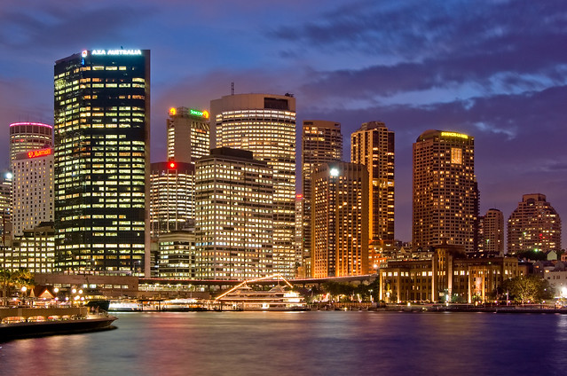 Circular Quay and Colourful Sydney Skyline at Night
