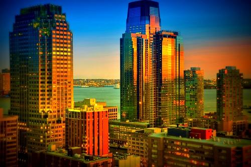 nyc newyorkcity sunset ny newyork reflection skyline brooklyn geotagged newjersey jerseycity cityscape nj hdr mudpig stevekelley