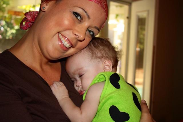 Auntie Jackie! and sleepy Maddie/Pebbles