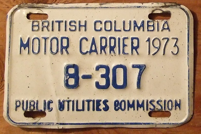 British Columbia 1973 Motor Carrier Plate Flickr Photo Sharing