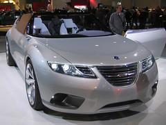 family car(0.0), automobile(1.0), automotive exterior(1.0), vehicle(1.0), automotive design(1.0), auto show(1.0), mid-size car(1.0), saab automobile(1.0), bumper(1.0), concept car(1.0), land vehicle(1.0), luxury vehicle(1.0), sports car(1.0),