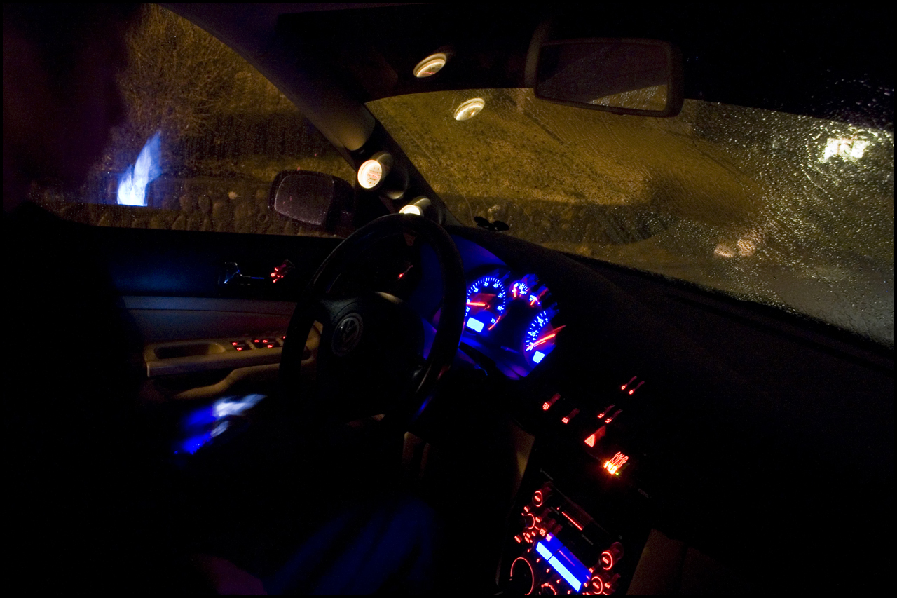 car interior at night. Black Bedroom Furniture Sets. Home Design Ideas